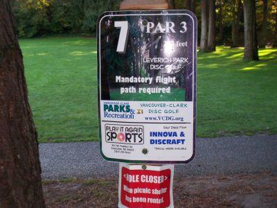 Leverich Park, Main course, Hole 7 Hole sign
