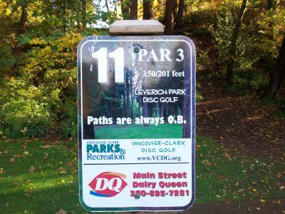 Leverich Park, Main course, Hole 11 Hole sign