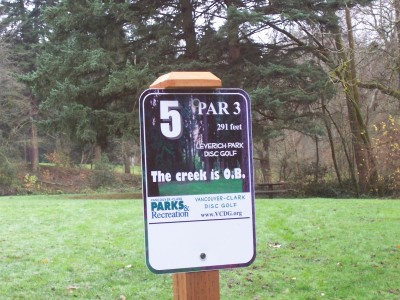 Leverich Park, Main course, Hole 5 Hole sign