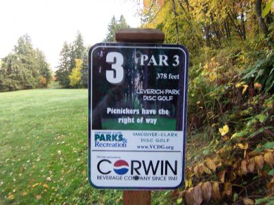 Leverich Park, Main course, Hole 3 Hole sign
