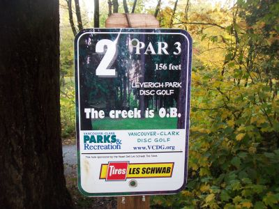 Leverich Park, Main course, Hole 2 Hole sign