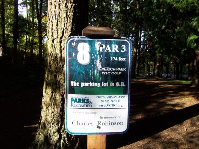 Leverich Park, Main course, Hole 8 Hole sign