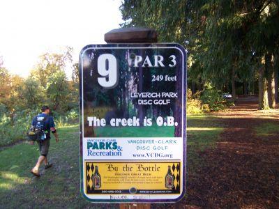 Leverich Park, Main course, Hole 9 Hole sign