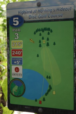 Horning's Hideout, The Highlands, Hole 5 Hole sign