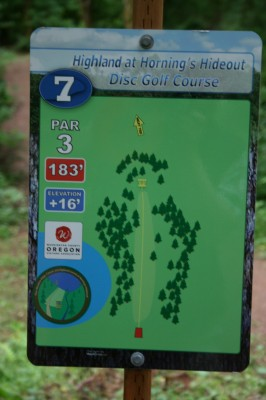 Horning's Hideout, The Highlands, Hole 7 Hole sign