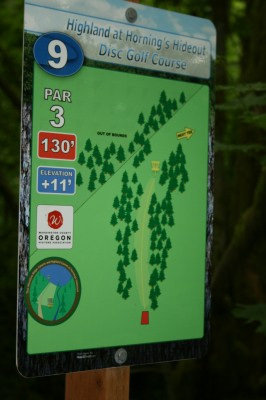 Horning's Hideout, The Highlands, Hole 9 Hole sign