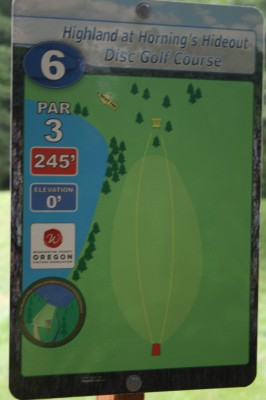 Horning's Hideout, The Highlands, Hole 6 Hole sign
