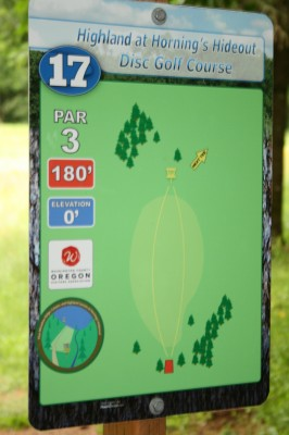 Horning's Hideout, The Highlands, Hole 17 Hole sign