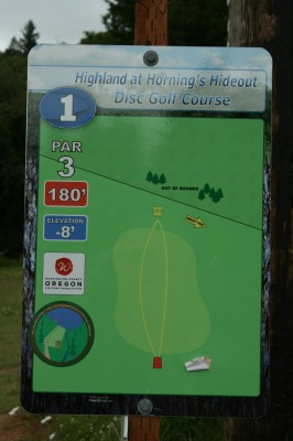 Horning's Hideout, The Highlands, Hole 1 Hole sign