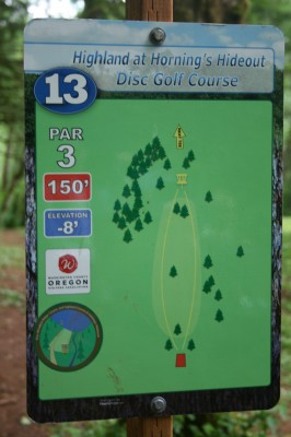 Horning's Hideout, The Highlands, Hole 13 Hole sign