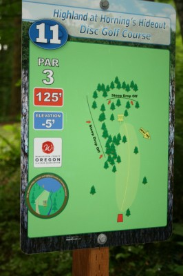 Horning's Hideout, The Highlands, Hole 11 Hole sign