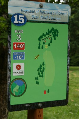 Horning's Hideout, The Highlands, Hole 15 Hole sign