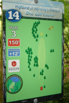 Horning's Hideout, The Highlands, Hole 14 Hole sign