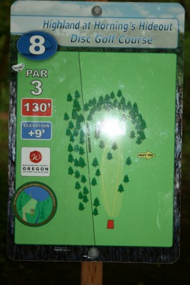 Horning's Hideout, The Highlands, Hole 8 Hole sign