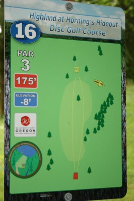 Horning's Hideout, The Highlands, Hole 16 Hole sign