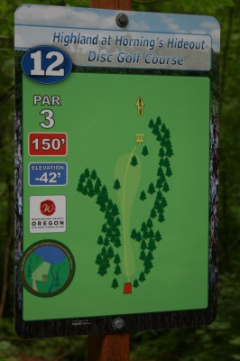 Horning's Hideout, The Highlands, Hole 12 Hole sign