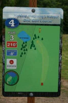 Horning's Hideout, The Highlands, Hole 4 Hole sign