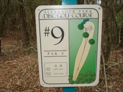Alexander Park, Main course, Hole 9 Hole sign