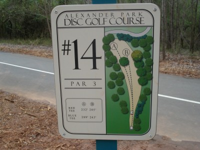 Alexander Park, Main course, Hole 14 Hole sign
