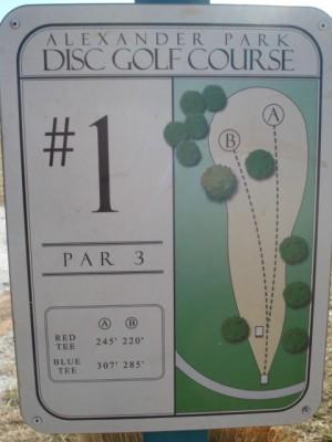 Alexander Park, Main course, Hole 1 Hole sign