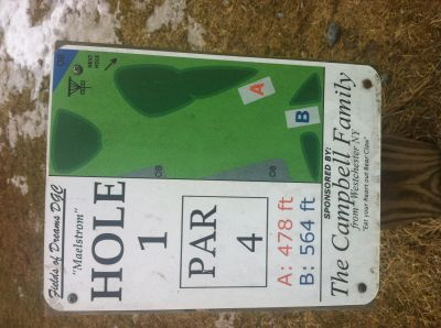Fields of Dreams, Main course, Hole 1 Hole sign