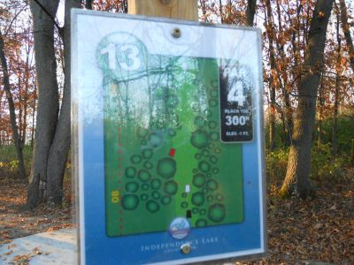 Independence Lake County Park, Chuck D. Memorial Course, Hole 13 Hole sign