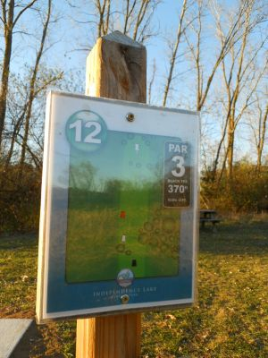 Independence Lake County Park, Chuck D. Memorial Course, Hole 12 Hole sign