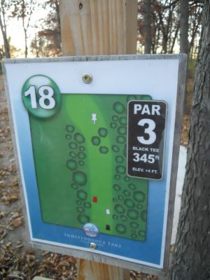 Independence Lake County Park, Chuck D. Memorial Course, Hole 18 Hole sign