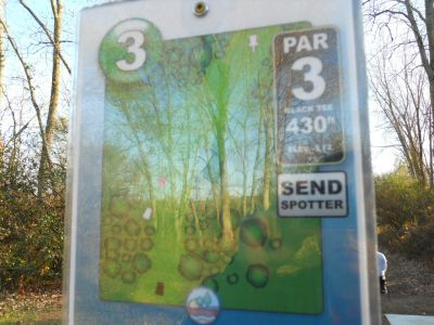 Independence Lake County Park, Chuck D. Memorial Course, Hole 3 Hole sign
