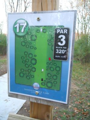 Independence Lake County Park, Chuck D. Memorial Course, Hole 17 Hole sign