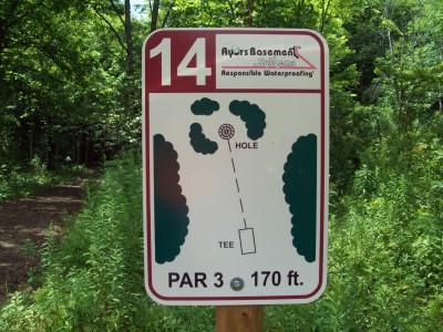 Lake Alliance, Main course, Hole 14 Hole sign