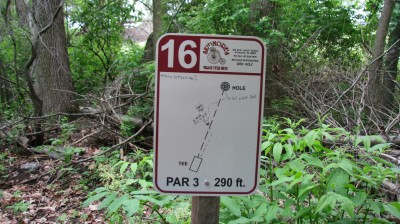 Lake Alliance, Main course, Hole 16 Hole sign