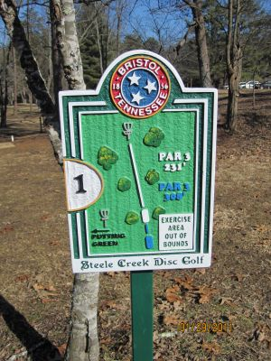Steele Creek Park, Main course, Hole 1 Hole sign