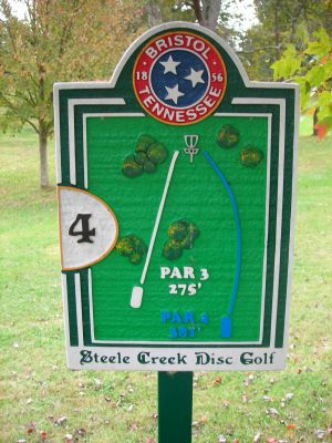 Steele Creek Park, Main course, Hole 4 Hole sign