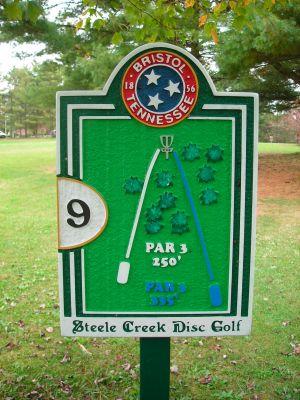 Steele Creek Park, Main course, Hole 9 Hole sign