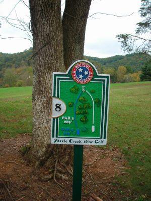 Steele Creek Park, Main course, Hole 8 Hole sign