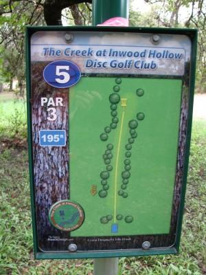 Inwood Hollow, The Creek, Hole 5 Hole sign