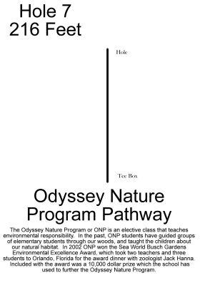 Odyssey High School, The Ferns, Hole 7 Hole sign