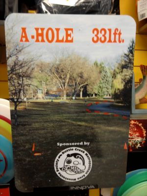 Irving Park, Main course, Hole A Hole sign