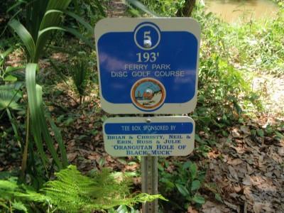 Ferry Park, Main course, Hole 5 Hole sign