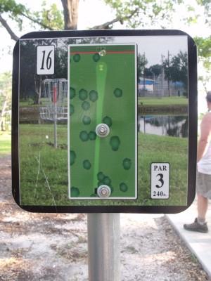 Youth Park, Main course, Hole 16 Hole sign