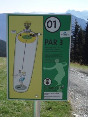 Schmitten Discgolf Parcours, Main course, Hole 1 Hole sign