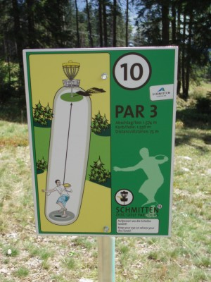Schmitten Discgolf Parcours, Main course, Hole 10 Hole sign