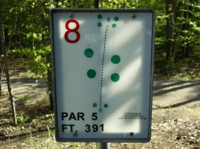 Sanford Lake Park, The Jungle, Hole 8 Hole sign