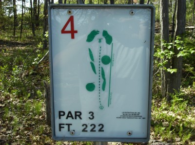 Sanford Lake Park, The Jungle, Hole 4 Hole sign