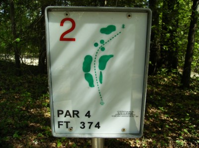 Sanford Lake Park, The Jungle, Hole 2 Hole sign
