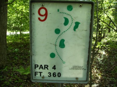 Sanford Lake Park, The Jungle, Hole 9 Hole sign