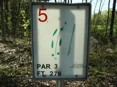 Sanford Lake Park, The Jungle, Hole 5 Hole sign