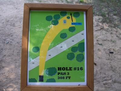 Shore Acres Park, Main course, Hole 16 Hole sign