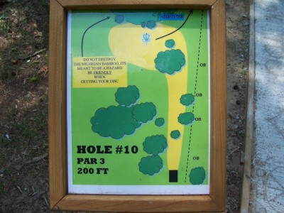 Shore Acres Park, Main course, Hole 10 Hole sign